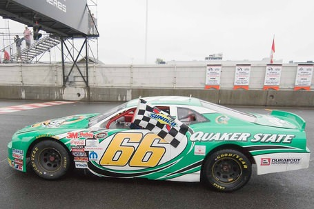 Robin Buck wins the NASCAR Canadian Tire Series race at the Trois-Rivieres road coarse